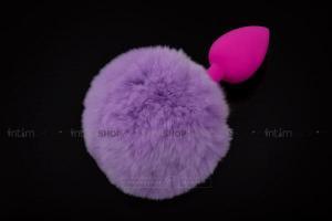 Силиконовая пробка Пикантные штучки с фиолетовым хвостом, фуксия