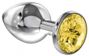 Анальная пробка Diamond Yellow Sparkle Small, желтый