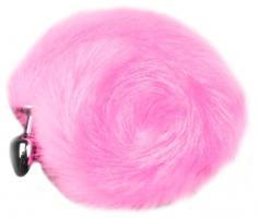 Анальная пробка Пикантные Штучки с розовым хвостом, серебристая, 6 см