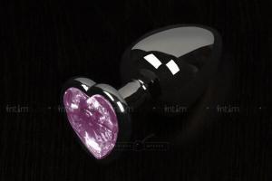 Анальная пробка маленькая Пикантные Штучки с розовым кристаллом в виде сердечка, графитовая, 6 см