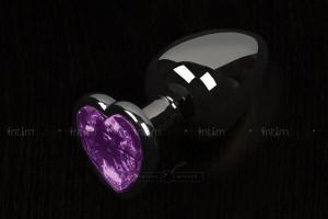Анальная пробка маленькая Пикантные Штучки с фиолетовым кристаллом в виде сердечка, графитовая, 6 см