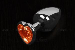 Маленькая анальная пробка Пикантные Штучки с оранжевым кристаллом в виде сердечка, серебристая, 6 см