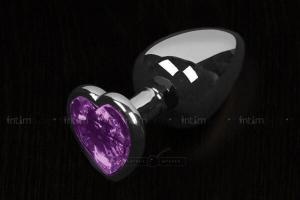 Маленькая анальная пробка Пикантные Штучки с фиолетовым кристаллом в виде сердечка, серебристая, 6 см